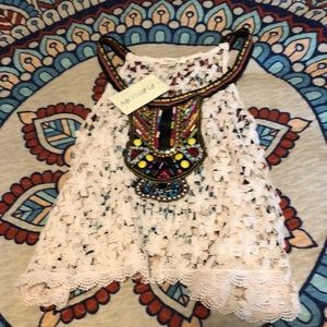 Rebellion lace tank with beading. NWT. Size Med.